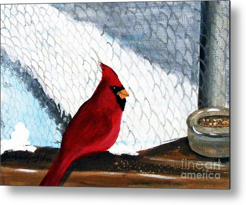 Cardinal Metal Print featuring the painting Cardinal In The Dogpound by Barbara Griffin