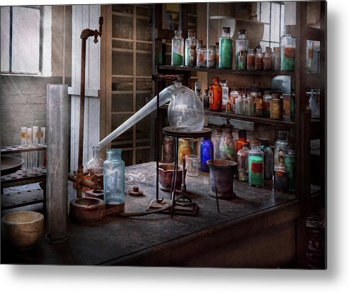 Hdr Metal Print featuring the photograph Chemist - My Retort Is Better Than Yours by Mike Savad