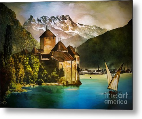 Castle Metal Print featuring the painting Chillon Castle by Andrzej Szczerski