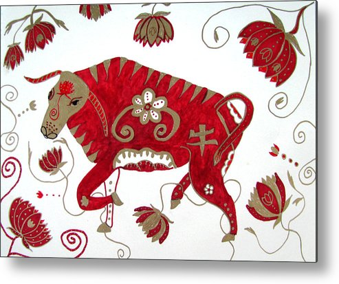 Ox Metal Print featuring the drawing Chinese Year Of The Ox by Barbara Giordano