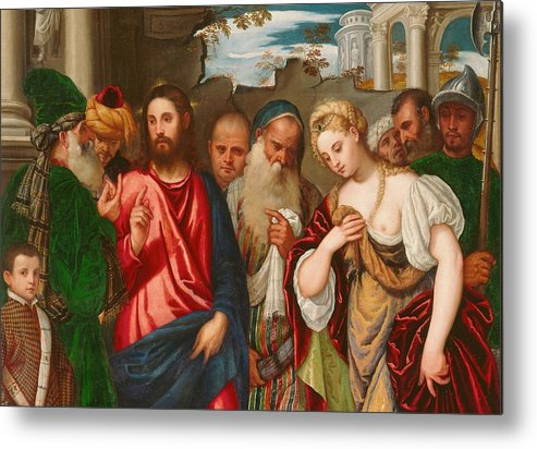 Son Of God Metal Print featuring the painting Christ And The Woman Taken In Adultery by Veronese