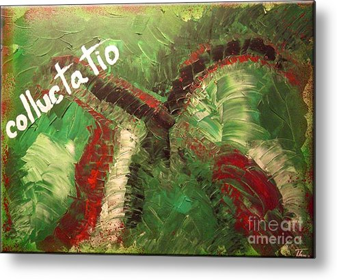 Acrylic Metal Print featuring the painting Colluctatio by Marketa Homayouni