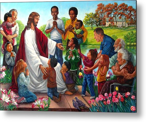 Children Metal Print featuring the painting Come Unto Me by John Lautermilch