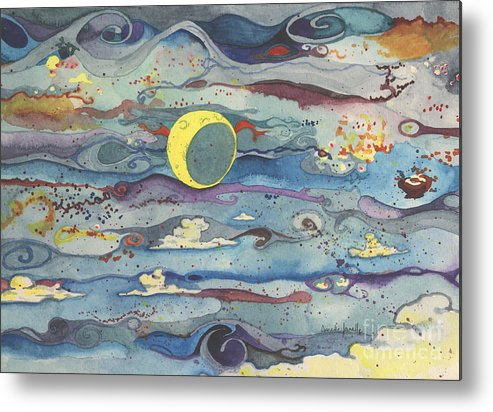 Moon Metal Print featuring the painting Crescent Moon by Annette Janelle Provenzo