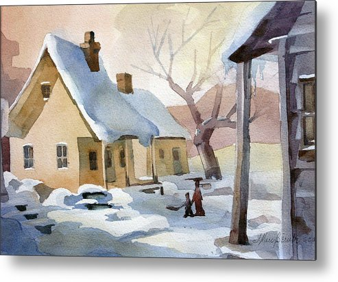House Metal Print featuring the painting Derniere Neige 11x15 by Jean-Marc Berube