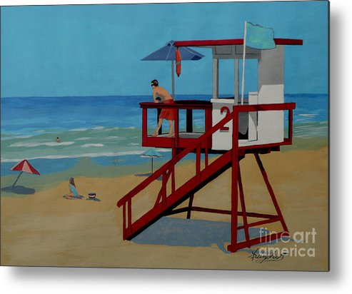 Lifeguard Metal Print featuring the painting Distracted Lifeguard by Anthony Dunphy