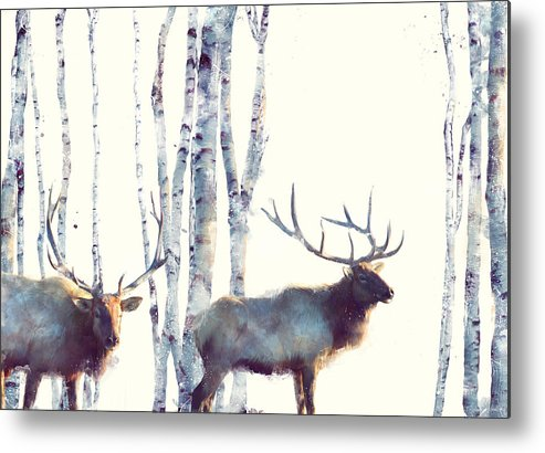 Elk Metal Print featuring the painting Elk // Follow by Amy Hamilton