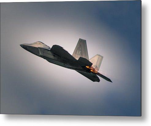 Military Metal Print featuring the photograph F-22 by Nikolai Martusheff