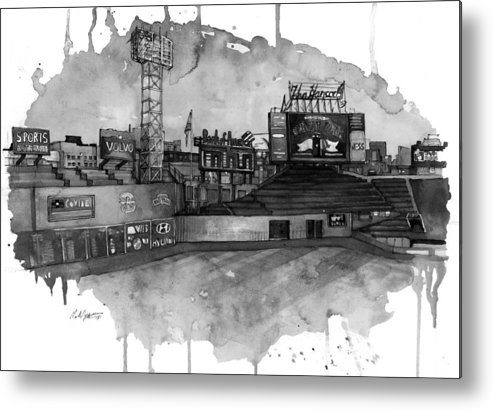 Fenway Metal Print featuring the painting Fenway Bw by Michael Pattison