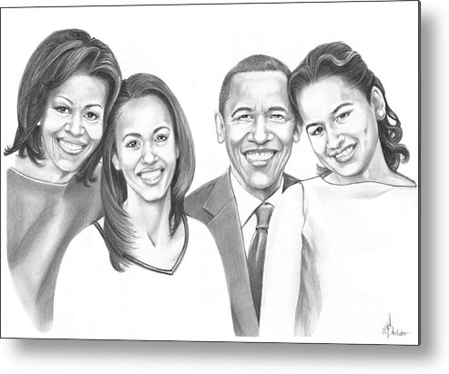Barrack Metal Print featuring the drawing First-family 2013 by Murphy Elliott