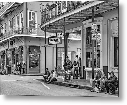 French Quarter Metal Print featuring the photograph French Quarter - Hangin' Out Bw by Steve Harrington