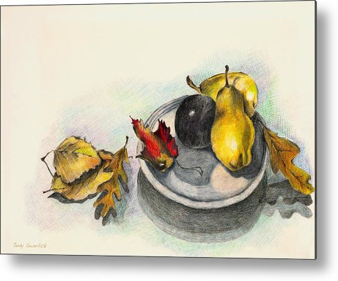 Fruit Metal Print featuring the drawing Fruit And Autumn Leaves by Judy Swerlick