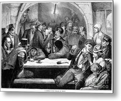 1875 Metal Print featuring the photograph Germany: Beer Cellar, 1875 by Granger