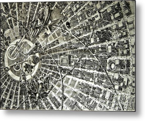 Cityscape Metal Print featuring the drawing Inside Orbital City by Murphy Elliott