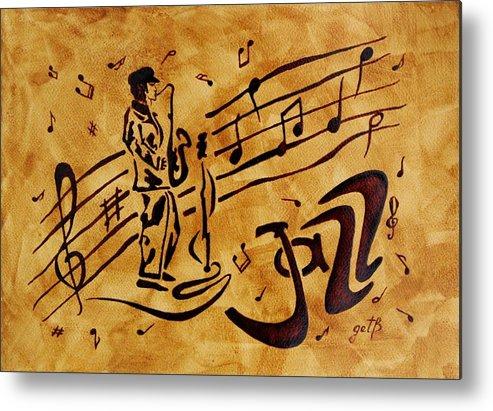 Abstract Coffee Painting Jazz Music Metal Print featuring the painting Jazz Coffee Painting by Georgeta Blanaru