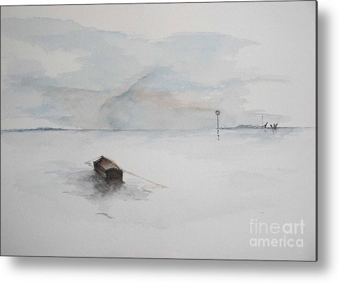 Boat Metal Print featuring the painting Lonely Mooring by Sibby S