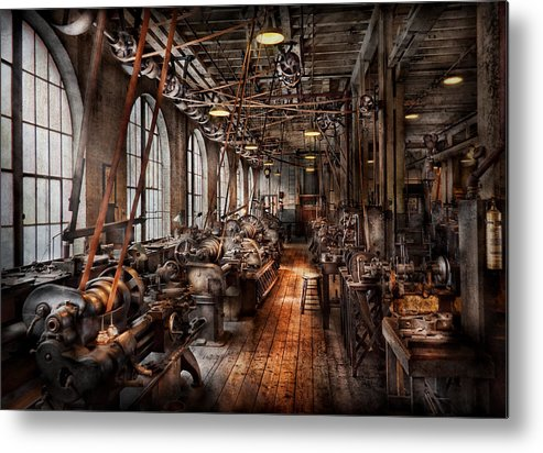 Machinist Metal Print featuring the photograph Machinist - A Fully Functioning Machine Shop by Mike Savad