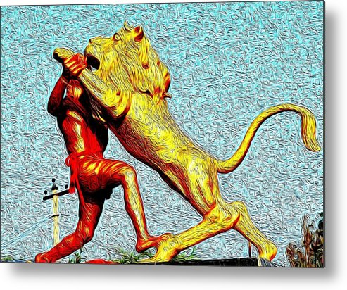 Man Metal Print featuring the photograph Man Fighting With Lion Bravery by Deepti Chahar