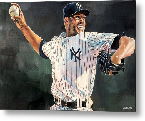 Mariano Rivera Metal Print featuring the painting Mariano Rivera - New York Yankees by Michael Pattison