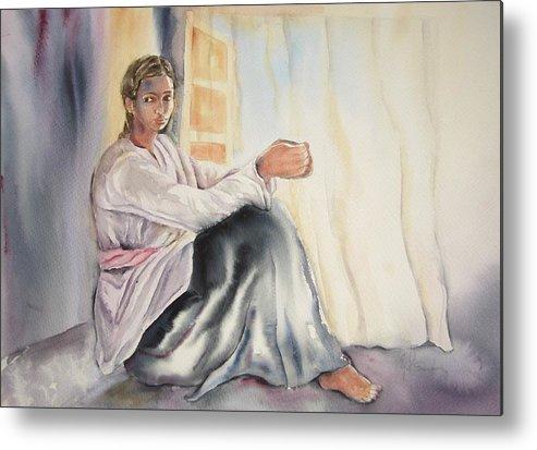 Mujer Joven Metal Print featuring the painting Meditation by Yolanda Suarez