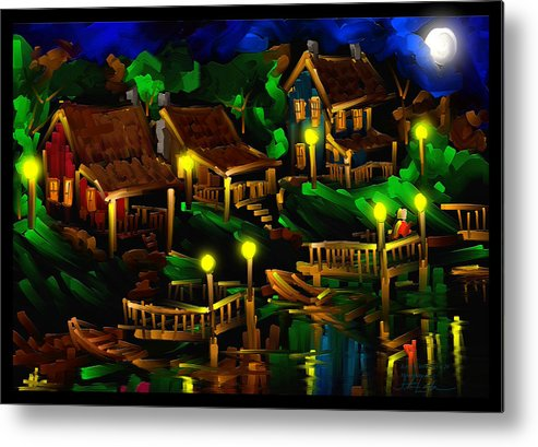 Moonshine Metal Print featuring the painting Moonshine Lake - Scratch Art Series - # 26 by Steven Lebron Langston