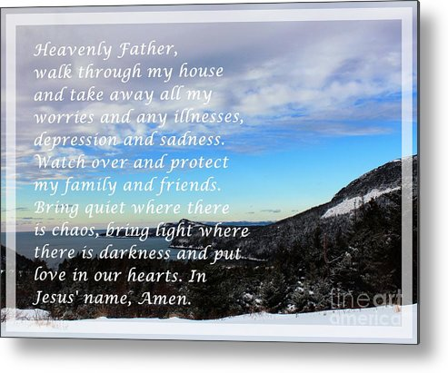 Most Powerful Prayer With Winter Scene Metal Print featuring the digital art Most Powerful Prayer With Winter Scene by Barbara Griffin
