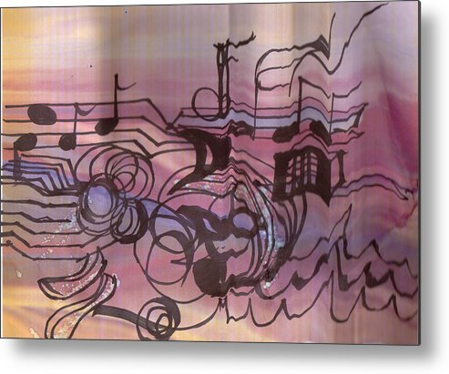 Music Metal Print featuring the drawing Music Out Of The Box by Anne-Elizabeth Whiteway