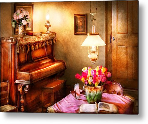 Hdr Metal Print featuring the photograph Music - Piano - The Music Room by Mike Savad
