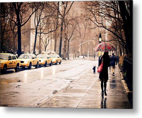 New York City Metal Print featuring the photograph New York Rain - Greenwich Village by Vivienne Gucwa