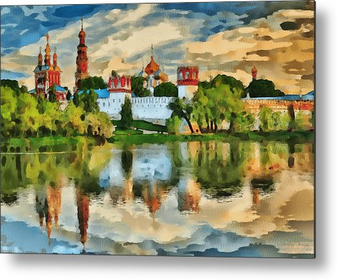 Church Metal Print featuring the digital art Novodevichy Monastery In Moscow by Yury Malkov