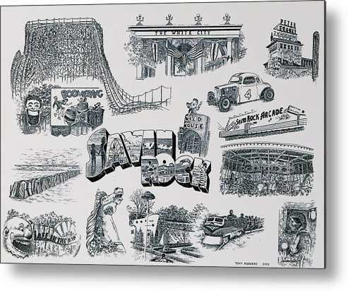Savin Rock Amusement Park New England Historical Poster West Haven Carnival Metal Print featuring the painting Old Savin Rock by Tony Ruggiero