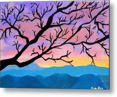 Tree Metal Print featuring the painting Out On A Limb by Cynthia Davis