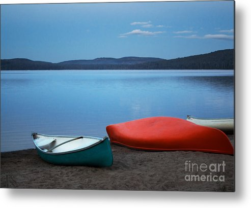 Canoe Metal Print featuring the photograph Paddle's End by Barbara McMahon