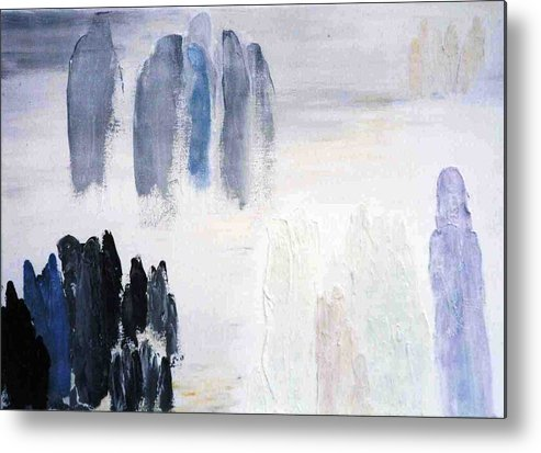 White Landscape Metal Print featuring the painting People Come And They Go by Bruce Combs - REACH BEYOND