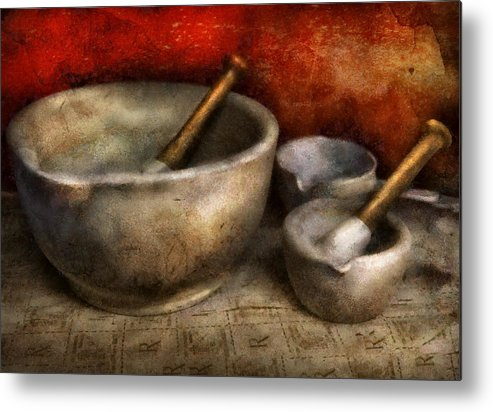 Hdr Metal Print featuring the photograph Pharmacist - Pestle And Son by Mike Savad