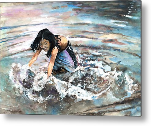 Travel Metal Print featuring the painting Polynesian Child Playing With Water by Miki De Goodaboom