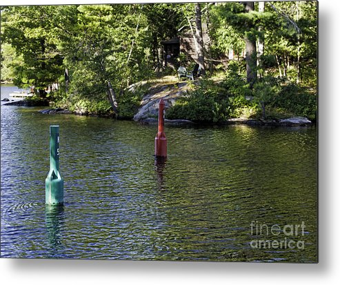 Green Metal Print featuring the photograph Red And Green Buoys by Les Palenik