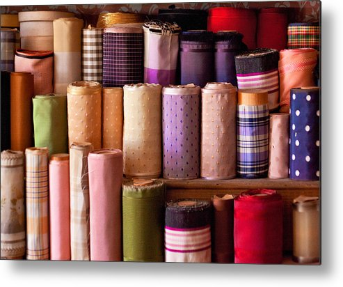 Sew Metal Print featuring the photograph Sewing - Fabric by Mike Savad