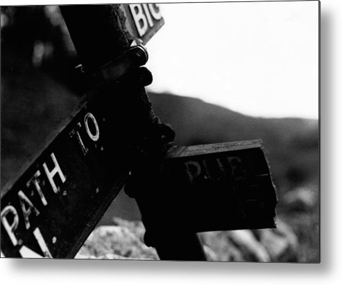 Black And White Metal Print featuring the photograph Sign Of The Times by Chris Poyser