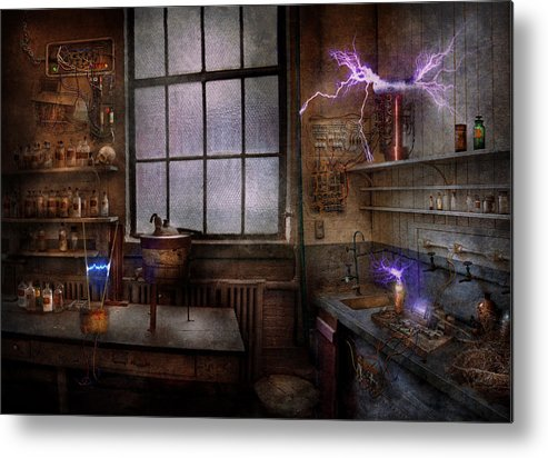 Hdr Metal Print featuring the photograph Steampunk - The Mad Scientist by Mike Savad