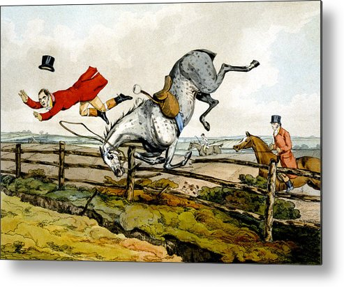 Hunters; Hunting; Falling; Ditch; Fence; Grey; Horse; Flying Through Air; Unseated; Unhorsed; Jumping; Thrown; Accident; Danger; Sport; Comical; Humorous; Riding Outfit Metal Print featuring the painting Taking A Tumble From Qualified Horses And Unqualified Riders by Henry Thomas Alken