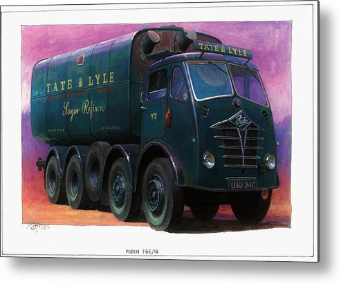 Lorry Metal Print featuring the painting Tate And Lyle Foden. by Mike Jeffries