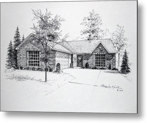 Homes Metal Print featuring the drawing Texas Home 1 by Hanne Lore Koehler