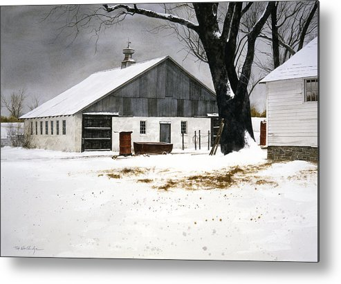 Landscape Metal Print featuring the painting The Big Barn by Tom Wooldridge