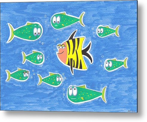 Fish Metal Print featuring the painting The Odd One Out by Heidi Bjork