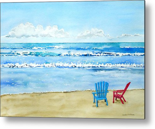 Beach Metal Print featuring the painting Two Chairs At The Beach by Laurie Anderson