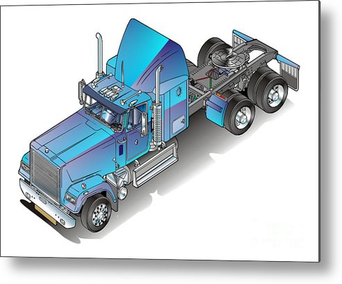 Truck Metal Print featuring the painting Us Heavy Truck by Christian Simonian