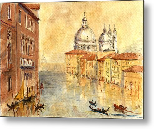 Venice Metal Print featuring the painting Venice Sunset by Juan Bosco