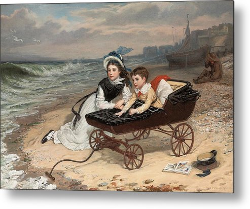 What Are The Wild Waves Saying; Character; Characters; Florence Dombey; Paul Dombey; Male; Female; Child; Children; Childhood; Victorian; Dickensian; Seaside; Beach; Young; Perambulator; Sentimental; Pram; Windy; Rough; Coast; Coastal; Sound; Noise; Surf; Crashing; Listening; Seated; Tide; Sea Foam; Carriage; Stroller Metal Print featuring the painting What Are The Wild Waves Saying? by Charles Wynne Nicholls