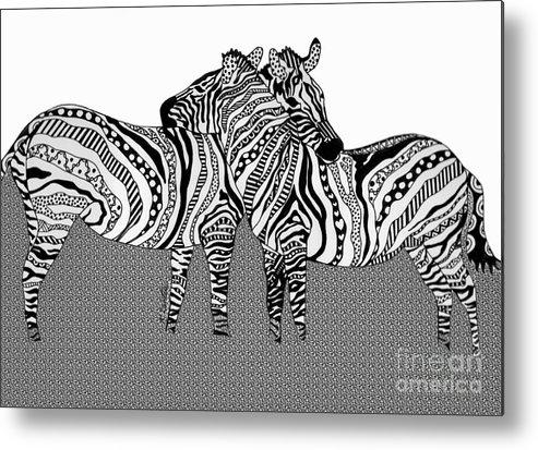 Zebra Metal Print featuring the drawing Zebra Love 10 by Karen Larter